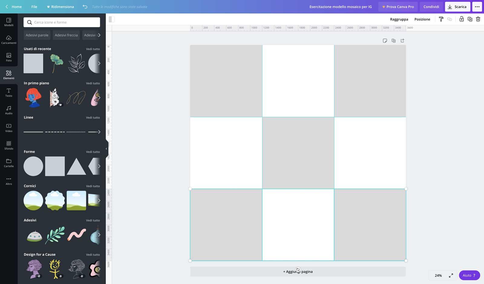 2° step: crea dei quadrati di 1200x1200 pixel a formare una scacchiera - feed mosaico in Canva