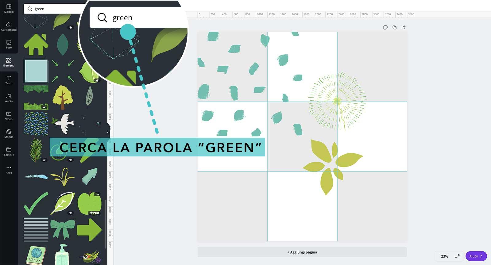 """3° step: cerca la parola """"green"""" fra le forme e scegline alcune portandole sul foglio - feed mosaico in Canva"""