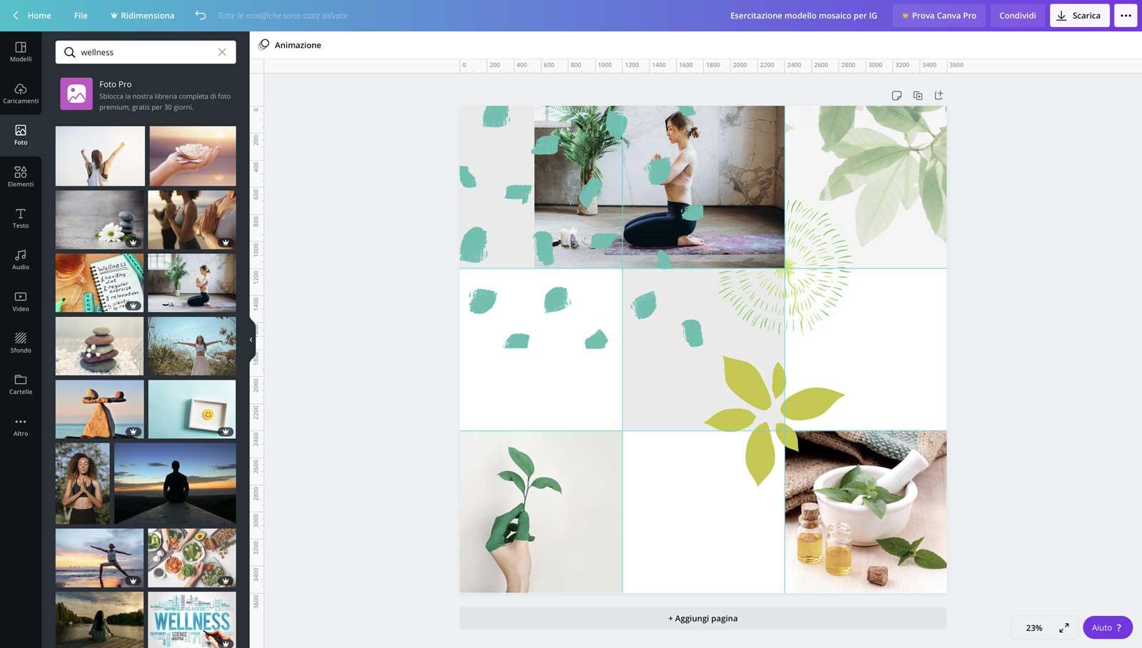 """5° step: inizia ad inserire delle foto pertinenti e falle pure """"accavallare"""" fra un quadretto e l'altro come nel caso della ragazza che fa yoga - feed mosaico in Canva"""