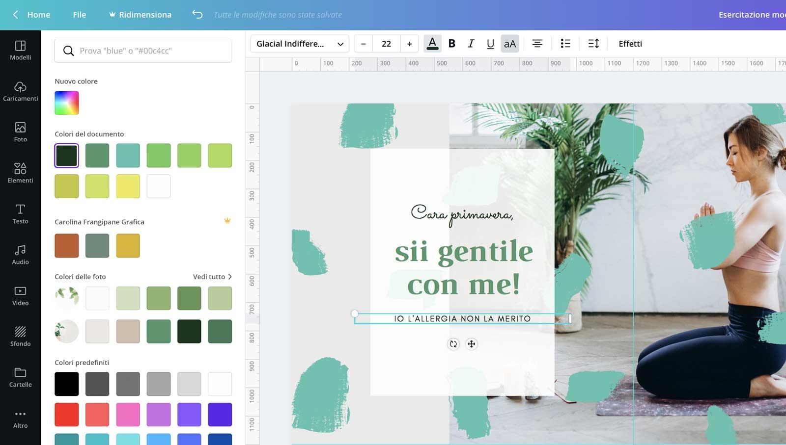 6° step: è arrivato il momento di inserire un po' di tipografia sotto forma di quote - feed mosaico in Canva